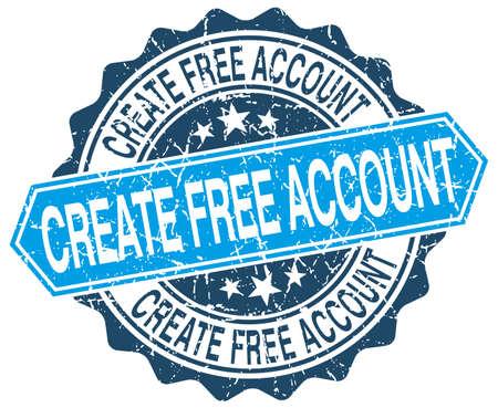 creare: creare account gratuito rotonda blu grunge timbro su bianco