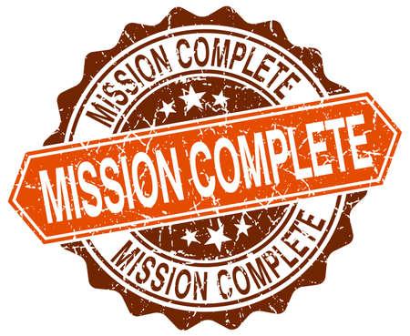 accomplish: mission complete orange round grunge stamp on white