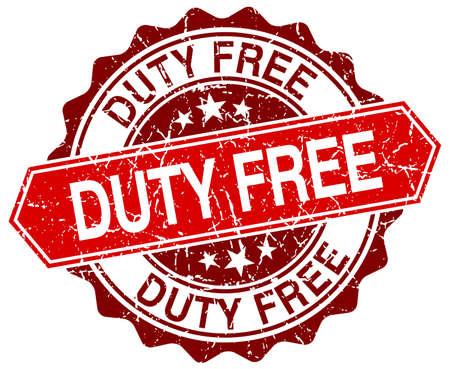 duty: duty free red round grunge stamp on white Illustration