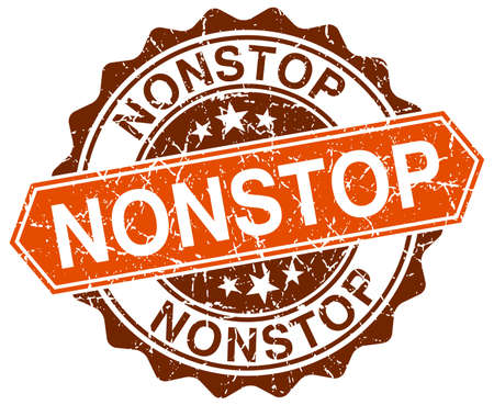 nonstop: nonstop orange round grunge stamp on white Illustration