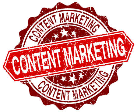 content marketing red round grunge stamp on white Vetores