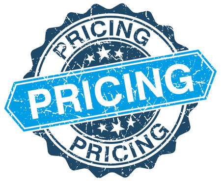pricing: pricing blue round grunge stamp on white