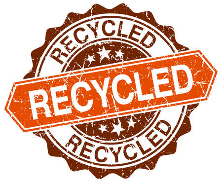 recycled: recycled orange round grunge stamp on white