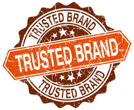 trusted: trusted brand orange round grunge stamp on white Illustration