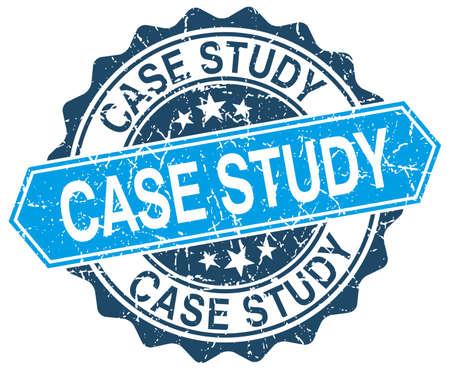 case study: case study blue round grunge stamp on white