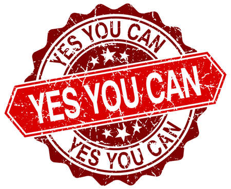 can yes you can: yes you can red round grunge stamp on white Illustration