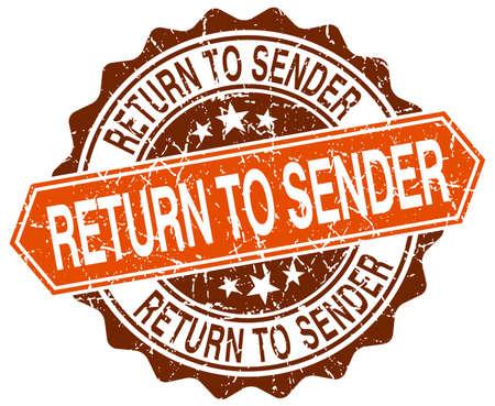 sender: return to sender orange round grunge stamp on white