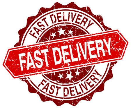 fast delivery: fast delivery red round grunge stamp on white Illustration