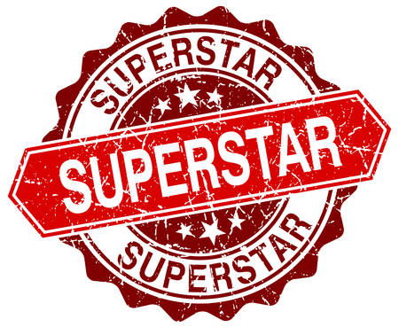 superstar: superstar red round grunge stamp on white Illustration