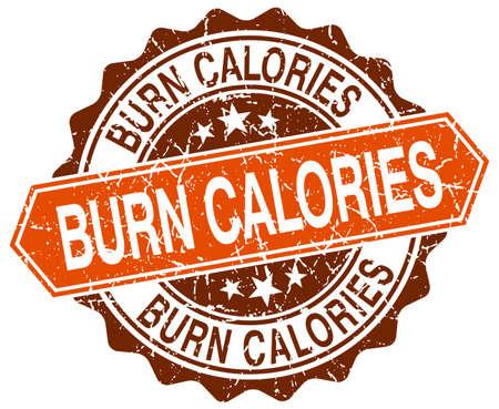calories: burn calories orange round grunge stamp on white Illustration
