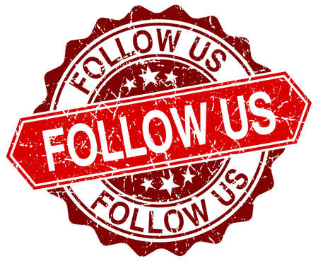 follow: follow us red round grunge stamp on white