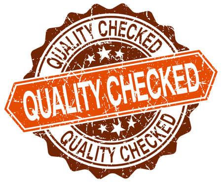 checked: quality checked orange round grunge stamp on white