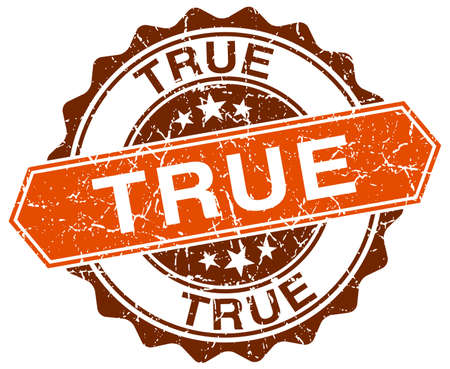 true: true orange round grunge stamp on white Illustration