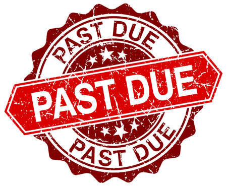 past due: past due red round grunge stamp on white Illustration