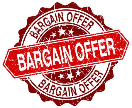 bargain offer red round grunge stamp on white