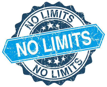 no limits: no limits blue round grunge stamp on white