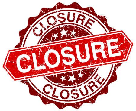 closure: closure red round grunge stamp on white