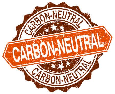co2 neutral: carbon-neutral orange round grunge stamp on white Illustration