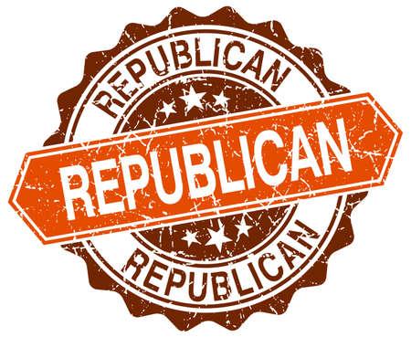 democrats: republican orange round grunge stamp on white
