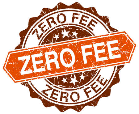 honorarios: tasa cero sello naranja grunge redonda sobre blanco