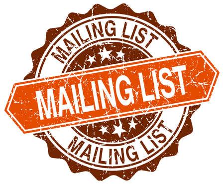 mailing: mailing list orange round grunge stamp on white