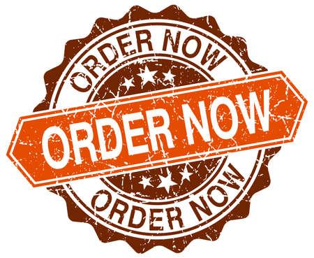 order now: order now orange round grunge stamp on white Illustration