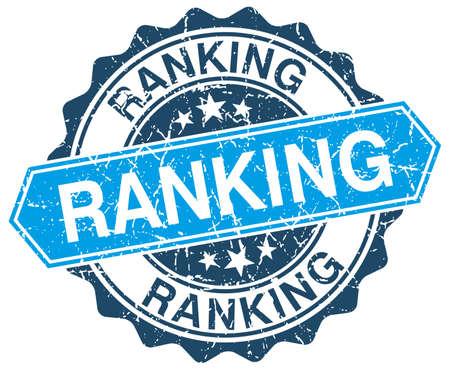 ranking: ranking blue round grunge stamp on white