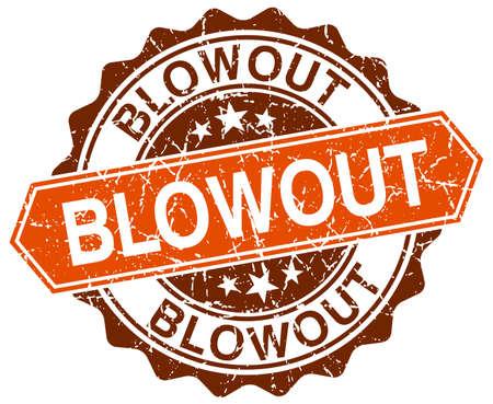blowout: blowout orange round grunge stamp on white