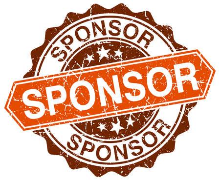 sponsor: sponsor orange round grunge stamp on white