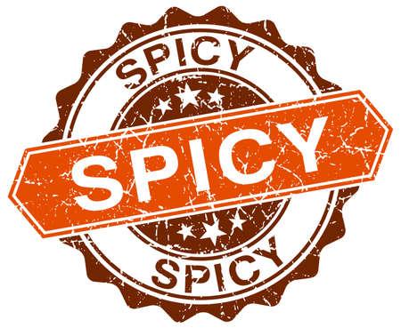 spicy: spicy orange round grunge stamp on white