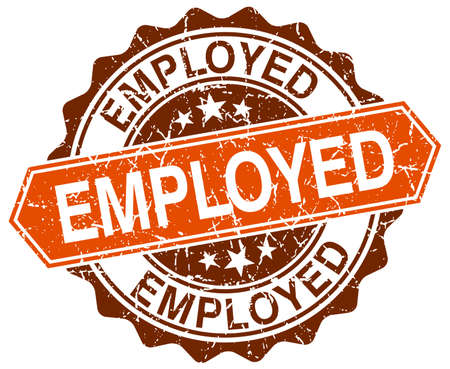 empleadas: empleada naranja grunge sello redondo en blanco