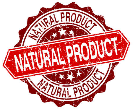 natural product: natural product red round grunge stamp on white Illustration