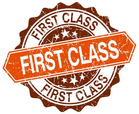 first in class: first class orange round grunge stamp on white
