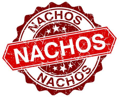 nachos: nachos red round grunge stamp on white