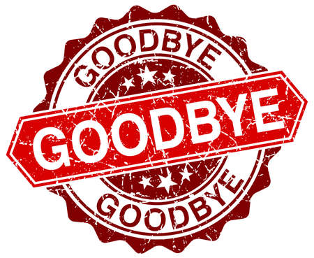 goodbye: goodbye red round grunge stamp on white Illustration