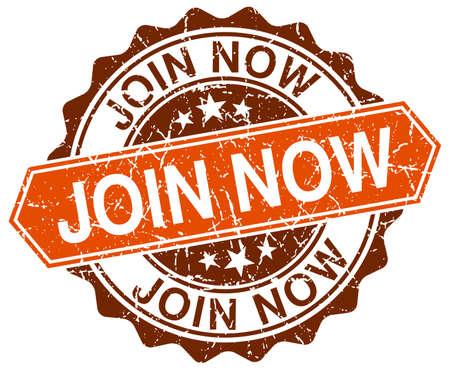 join now: join now orange round grunge stamp on white