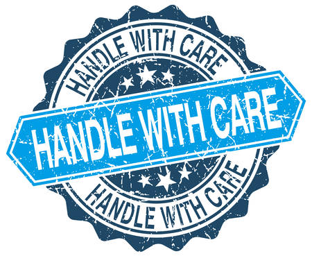 handle with care: handle with care blue round grunge stamp on white Illustration