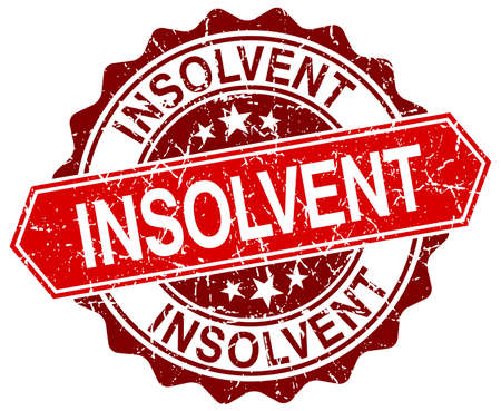 insolvent: insolvent red round grunge stamp on white