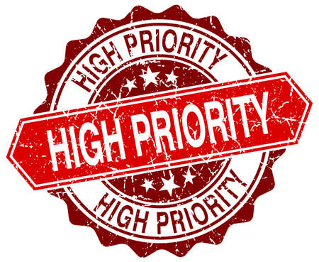 priority: high priority red round grunge stamp on white