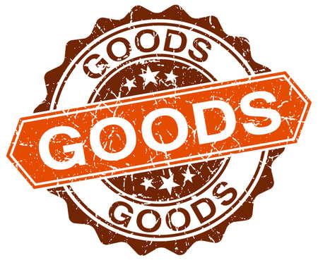 white goods: goods orange round grunge stamp on white Illustration