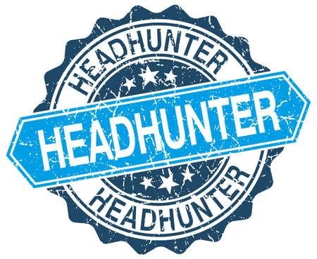headhunter: headhunter blu rotondo grunge timbro su bianco