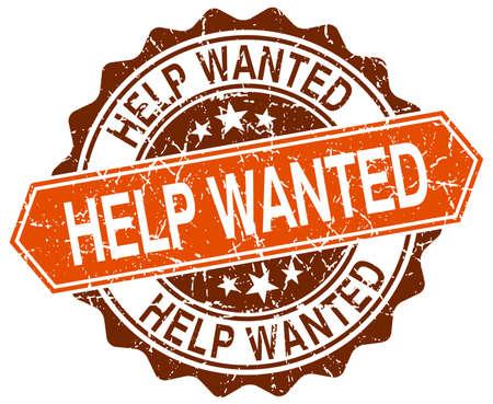 help wanted sign: busca ayuda de naranja grunge sello redondo en blanco