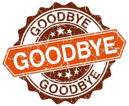 addio: addio arancione rotondo grunge timbro su bianco Vettoriali