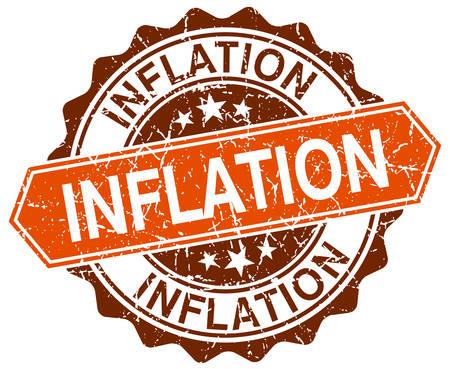 inflation: inflation orange round grunge stamp on white Illustration