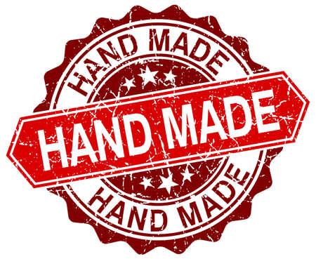 hand made: hecho a mano de color rojo grunge sello redondo en blanco Vectores