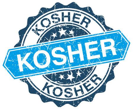 kosher: kosher blue round grunge stamp on white