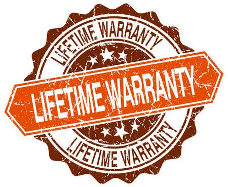 lifetime warranty orange round grunge stamp on white Illustration