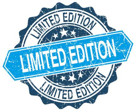 edition: limited edition blue round grunge stamp on white