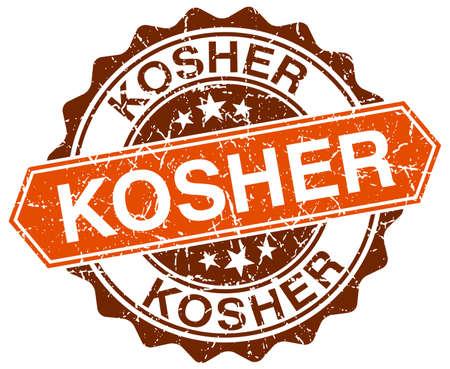 kosher: kosher orange round grunge stamp on white