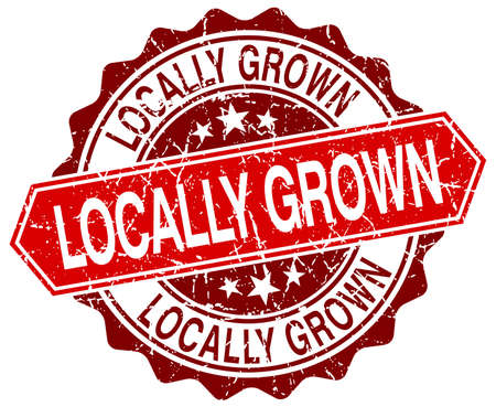 locally: locally grown red round grunge stamp on white